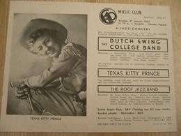 Gent Vooruit 1957  Jazz Concert Texas Kitty Prince 30 Op 15 Cm Affiche - Affiches