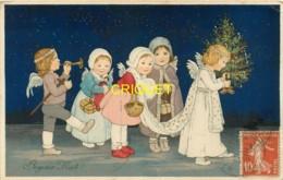 Noël, Cp Illustrée, Procession D'enfants Et Angelots, Traine, Sapin, Trompette...., Affranchie 1914 - Noël