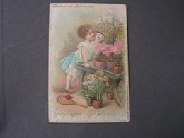 Kind Mit Blumen , , Blumenduft Karte Und Tenis ..Schläger..nach Lelm 1902 - Abbildungen