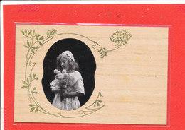 Carte Ancienne En BOIS Avec Photo Fillette - Cartoline