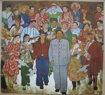 China Poster Image 26 X 24 Cm. Peinture Représentant Mao Tsé-toung Parmi Les Ethnies Chinoises - Affiches