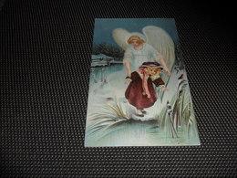 Enfant ( 2102 )   Kind  Ange Gardien  Engel  Beschermengel - Carte Gaufrée  Reliëf - Anges