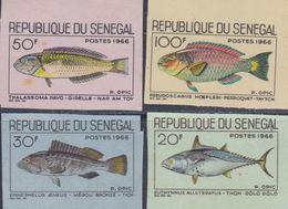 Sénégal  N° 271 / 74  Nd XX Poissons Divers, La Série Des 4 Valeurs Sans Charnière Non Dentelée,  TB - Senegal (1960-...)