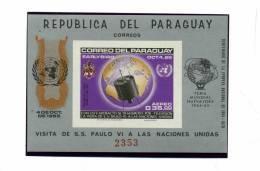 PARAGUAY-1965-VISITE DE Paul VI à L'ONU-MI B76 NON DENTELE***MNH-COTE 40 EURO - América Del Sur