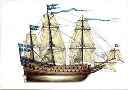 "(Bu-B2) Postkarte ""Schwedisches Königsschiff ""WASA"" (1628)"", EF BRD Mi 1341SSt 8.7.1991 ROSTOCK - Cartes Postales"
