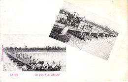 ITALIA Ponte Di Barche Sul Fiume PO (Polesella Sicuramente), Animata, 1900 Circa - 2017-271 - Italia