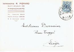 CP Publicitaire PIRONCHAMPS 1952 - Imprimerie R. PIERARD - Farciennes