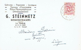 CP Publicitaire - REMOUCHAMPS 1952- G. STEINMETZ - Imprimerie - Librairie - Papeterie - Aywaille