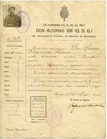 ESPAGNE CONSUL ESPANA EN BURDEOS 1916 CONCEDE LIBRE. CACHET COMMISSAIRE SPECIAL GIRONDE - Documents