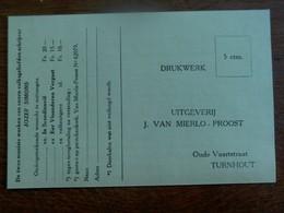 Kaart - Drukwerk  UITGEVERIJ  J.  VAN MIERLO _  PROOST  TURNHOUT - Magasins