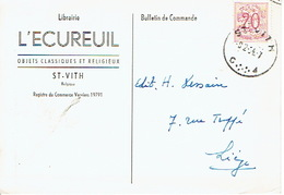 CP Publicitaire SAINT-VITH 1954 - Librairie L'ECUREUIL - Objets Classiques & Religieux - Sankt Vith