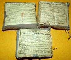 LOT DE 3 PANSEMENTS INDIVIDUELS FRANCAIS ,PANSEMENTS FROGER-GOSSELIN A SAINT REMY ( CALVADOS ) MARCHE DE GUERRE 1939 , E - Equipment