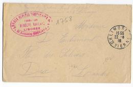 1916 - HOPITAL TEMPORAIRE N°4 - ENVELOPPE FM De LIMOGES (HAUTE VIENNE) => DAX - Poststempel (Briefe)