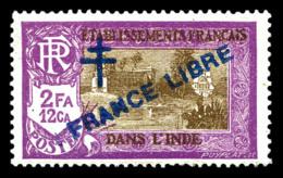 INDEN°165a, 2 Fa. 12ca, Surcharge Bleue. TTB (signé Calves)  Qualité: *  Cote: 150 Euros - India (1892-1954)