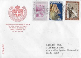 BUSTA INTESTATA S.M.O.M VIAGGIATA CON AFFRANCATURA VATICANO PER ROMA - Malte (Ordre De)