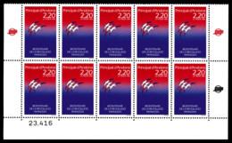 ANDORREN°376, Bicentenaire De La Révolution, Impression Recto-verso Partiel En Bloc De 10 Ex. TB  Qualité: ** - Andorre Français
