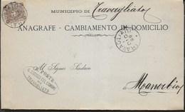 STORIA POSTALE REGNO - STEMMA CENT. 1 ISOLATO SU PIEGO DA TRAVAGLIATO 01.DIC.1899 PER MANERBIO - ANNULLO TONDO RIQ. - 1878-00 Umberto I