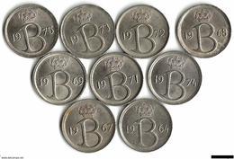 Belgique Lot 10 Pièces De Monnaie 25 Centimes NLD 1964 1965 1966 1967 1968 1970 1971 1973 1974 1975 - 02. 25 Centimes