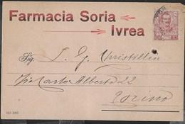 STORIA POSTALE REGNO - CARTOLINA INTESTATA FARMACIA IVREA 13.09.1906 - MARCHE DA BOLLO AL RETRO - 1900-44 Vittorio Emanuele III