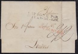 """1830.SANTANDER A LONDRES. MARCA """"M/SANTANDER"""". MARCA FRONTERA """"ESPAGNE/PAR STJEAN DE LUZ"""". DESINFECCIÓN.MUY INTERESANTE. - España"""