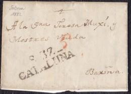 """1832. SOLSONA A BARCELONA. MARCA """"S.37/CATALUÑA"""" NEGRO. PORTEO """"6"""" CUARTOS ROJO. INTERESANTE CARTA COMPLETA EN CATALÁN. - ...-1850 Prefilatelia"""