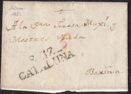 "1832. SOLSONA A BARCELONA. MARCA ""S.37/CATALUÑA"" NEGRO. PORTEO ""6"" CUARTOS ROJO. INTERESANTE CARTA COMPLETA EN CATALÁN. - España"