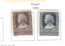 Polonia PO 1955 Chopin  Scott.666+667 See Scan On Scott.Page; - Nuovi