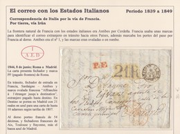 """1844. ROMA A MADRID. FECHADOR Y MARCA """"PF"""" PAGADO FRONTERA DE ROMA. TRÁNSITOS. AL DORSO """"54"""" DÉCIMAS Y FECHADORES. - Italia"""