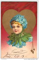 Très Jolie Fantaisie - Visage D'enfant Dans Un Coeur Doré - Myosotis - Lithographie Couleur - Kopal N° 399 - 2 Scans - Fantaisies