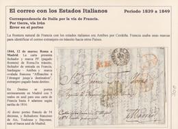 """1844. ROMA A MADRID. FECHADOR Y MARCA """"PF"""" PAGADO FRONTERA DE ROMA. PORTEO 5 REALES. AL DORSO """"54"""" DÉCIMAS Y FECHADORES. - Italia"""