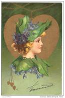 Très Belle Illustration - Visage De Jeune Femme Dans Un Coeur Doré - Lithographie Couleur -  Kopal N° 399 - 2 Scans - Fantaisies