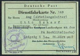 2716 - Deutsche Post Fahrkarte Dienstfahrkarte Postdirektion Leipzig - PA Rochlitz - Ausweis Dokument - Transporttickets
