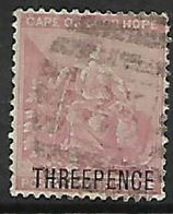 S.Africa, CoGH, 1880, THREE PENCE  / 4d Pale Dull Rose, Used - South Africa (...-1961)