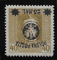Pologne N°102 - Variété Surcharge Renversée - Neuf * Avec Charnière - B/TB - ....-1919 Provisional Government