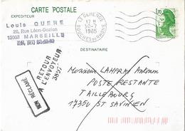 RETOUR A L'ENVOYEUR 3897 TAILLEBOURG CHARENTE MARITIME - Postmark Collection (Covers)
