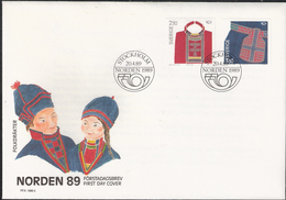 Sweden 1989 Norden: Parts Of Lapland Costumes, Chest Cloth, Belt Bag Mi  1537-1538  FDC - Lettres & Documents