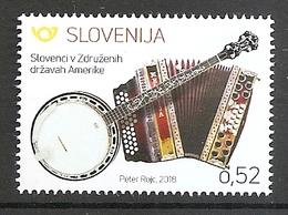 SLOVENIA,,SLOWENIEN 2018,SLOVENES AROUND THE WORLD,ZDA,MUSIC INSTRUMENTS,HARMONIK,ACCORDION,BENJO,MNH - Slovénie