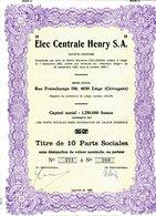 Elec Centrale Henry S.A. - Electricité & Gaz