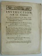 Instruction Sur Le Timbre, 1792 - Décrets & Lois