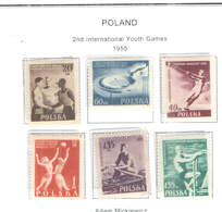 Polonia PO 1955 2° Int.Games Gioventù  Scott.699/704 See Scan On Scott.Page; - Nuovi