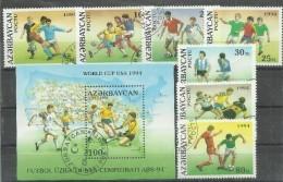 Aserbaidschan 140-146, Bl.6, Fußballweltmeisterschaft 1994 In Den USA, Gestempelt, Mi.:12,00 € - World Cup