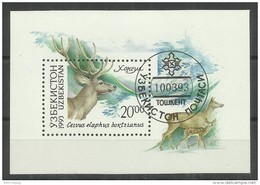 """Usbekistan Bl. 1 """"Block Mit Abbildung Eines Hirsches 1993, Taschkent"""" Gestempelt Michel 4,00 € - Uzbekistan"""