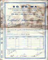 1963 - Certificat - So Co Ma à Creil (Oise) - Cinéma - FRANCO DE PORT - Cinéma & Théatre