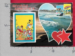 CARTOLINA VG ITALIA - RIVIERA ADRIATICA - Disney - Paperino - Vedutine Multivue - 10 X 15 - ANN. 19?? - Disney