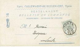 Postkaart Publicitaire  IEPER 1908 - Header CALLEWAERT-DE MEULENAERE Boekhandel Te YPRES - Ieper