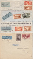 Lebanon-Liban 4 Com.covers  With 4 Differents Air Mail Bluc Label,diff Color,imperf,diff Letters-scarce- Red. Pr.SKRILL - Lebanon