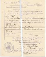 Brief Lettre - Gemeente Ursel - Uittreksel Geboorteakte  Maria Clemence Roelandts Dochter Jan Bapt. & Louiza Fiers 1874 - Oude Documenten
