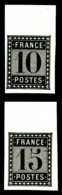 Essais De L'imprimerie Nationale, 10c & 15c Noir, TTB (certificat)  Qualité: (*)  Cote: 520 Euros - France