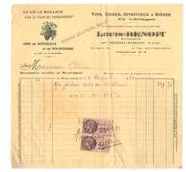 Facture 1931 André Dupuis Mesnil Amelot Timbre Fiscal France Timbres Fiscaux Vins Cidres Bieres Clos Vendangeur - France