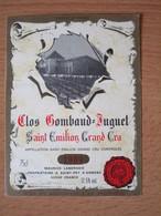 ETIQUETTE DE VIN SAINT-EMILION GRAND CRU CLOS GOMBAUD-JUGUET 1989 - Bordeaux